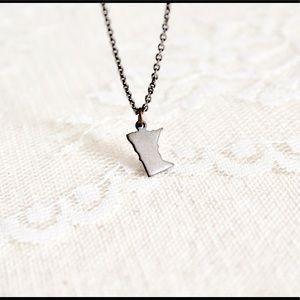 Tiny bronze Minnesota charm state pride necklace